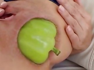 HUGE vegetable anal insertion