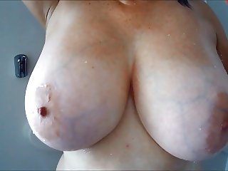 Shower, huge tits