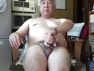 Japanese old man masturbation Ejaculation in the kitchen