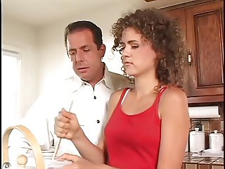Flat chested whore gets fucked in the ass by stud in the kitchen
