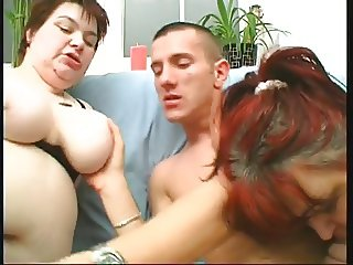 Two fat bbw sluts with hairy pussies and huge tits love one lucky guy's dick