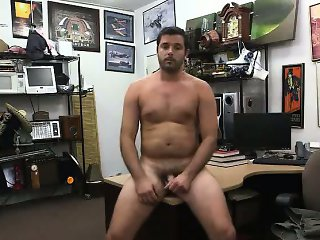 Amateur stud gets naked for some pics at the pawn shop