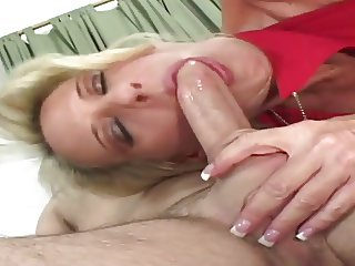 Blonde cougar seduces young stud to fuck her