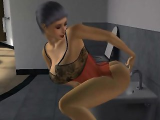 Sexy busty mature 3D babe sucking on a hard cock