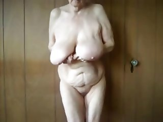 Amazing saggy boobs grandma