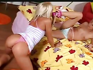 Lesbian blondes loving each others socks and feet