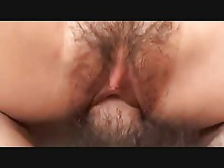 Pretty Japanese MILF's Hairy Cunt Creampied