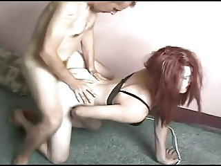 Redheaded Crossdresser suck a dick and takes a fucking