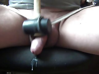 Hammering on the penis and balls, Handjobs 2014