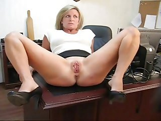 Secretary playing with pussy