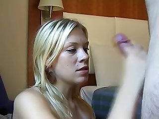 hot german blonde sucking for a facial