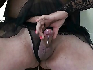 Vintage Shemale Crossdresser in Black Panty 2
