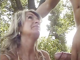 Mature Karola fuck hard in the wood