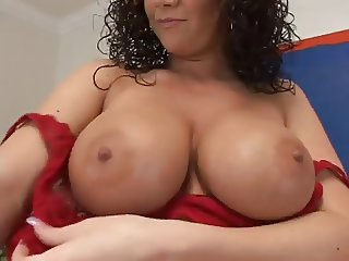 Sexy Big Boobs Curly Hair Woman fucks in couch