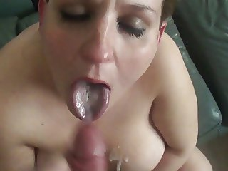 Quick BJ with nut on face and huge tits