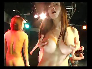 sexy japan gogo girl with glasses solo disco dance