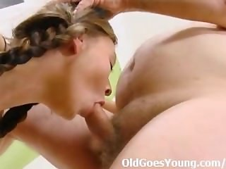 Anna rides her older man and fills her young pussy with his older hard cock