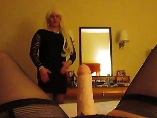 Crossdresser Sucking Mistress's strap on