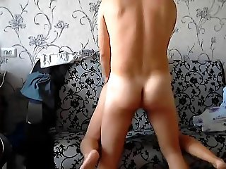 Hot young Russian couple fuck on sofa and anal