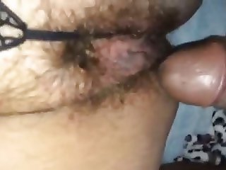 Nice BBW toys her hairy pussy in front of black bull!