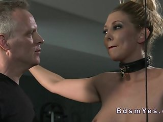 Busty blonde sub vibed in bdsm in dungeon