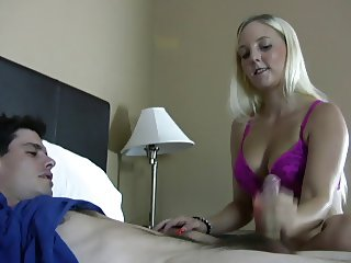 Busty blonde makes him cum for her joy