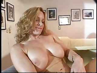 Hot blonde with amazing tits spreads legs and fingers her pussy