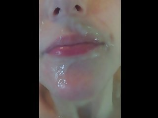 cum keeps dripping into her mouth