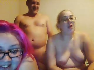 ugly chubby daughters double-blowjob not their fat daddy