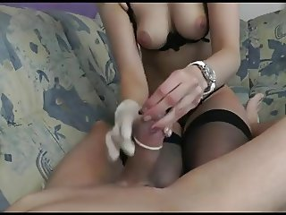 Busty beauty in open crotch panties rides cock