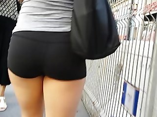 Candid tight shorts nice ass and legs