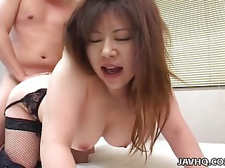 Asian brunette slut with sexy lingerie gets doggy style slam