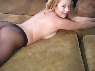 Holly Morgan in and out of pantyhose.