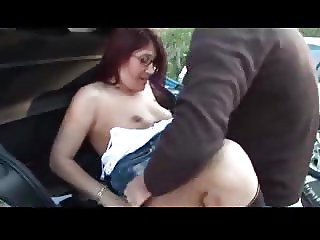 Redhead babe dogging action