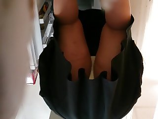 Upskirt white spotted panties