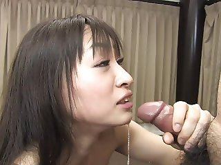 Horny Asian babe spreads her legs wide open for gang bang