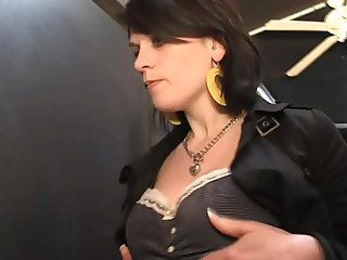 Wife fucking inside a sex shop