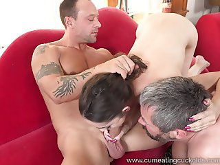 Married Couple Share a Cock and Husband Eats Cum