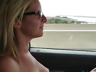 Busty Girlfriend Topless Driving