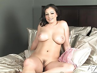 Curvey babe performs sexy striptease out of her lingerie