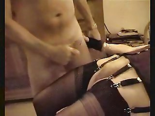 Sexy mature in stockings spit roasted.