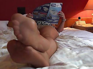 Erotic mom nylon footplay