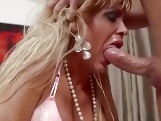 Mature blonde Milf deepthroat facefucking big cock