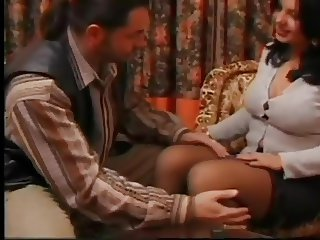 Voluptueus Spanish MILF in stockings fucks in hotel