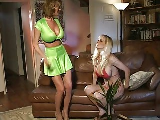 Big tits blonde playing with her dildo