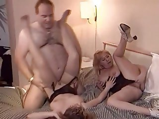 Threesome between Milf, Teen and fat Guy