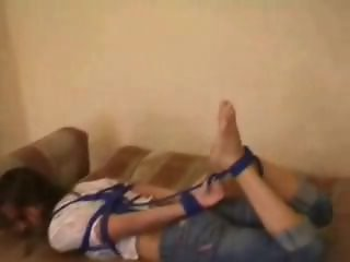 Bf hogtied blue rope