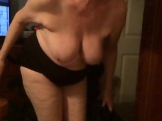 Wife bending over and shaking her tits in slow motion!