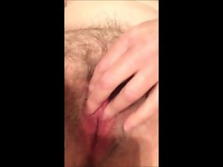Amateur grandma rubbing her hairy pussy