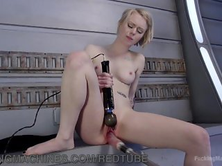 Tiny Blonde Fucked By Machines